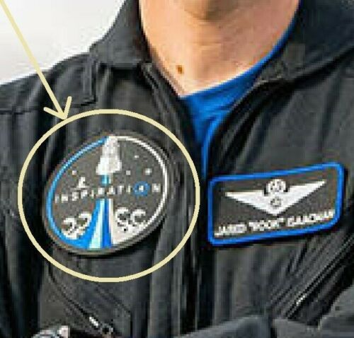 NASA CIVILIAN SPACEX CREW DRAGON on INSPIRATION④ FALCON 9 MISSION velkrö PATCH