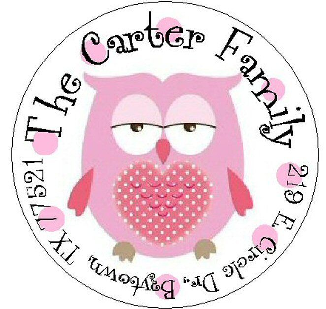 ~CUTE PINK OWL with HEART~ Round Return Address Labels