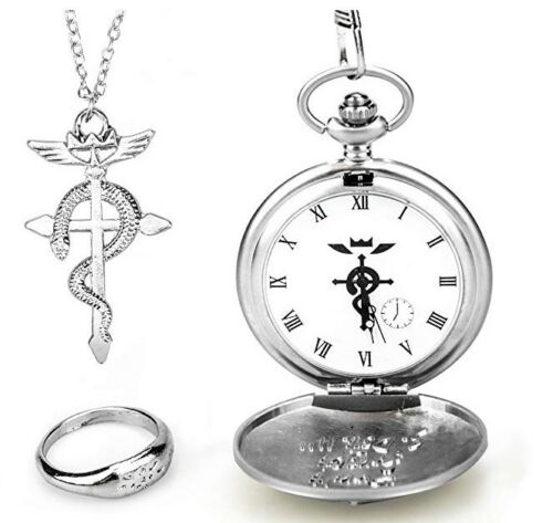 Full Metal Alchemist Edward Elric Cosplay Jewelry Set w/ Functional Pocket Watch