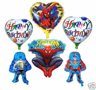 6X NEW BATMAN SUPERMAN SPIDERMAN HAPPY BIRTHDAY FOIL BALLOON PARTY HELIUM AIR