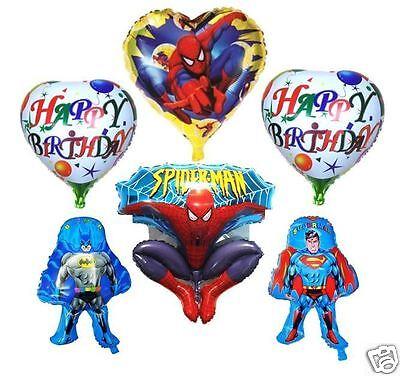 6X NEW BATMAN SUPERMAN SPIDERMAN HAPPY BIRTHDAY FOIL BALLOON PARTY HELIUM AIR