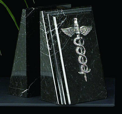Bookends Medical Caduceus Black Marble  desk ...