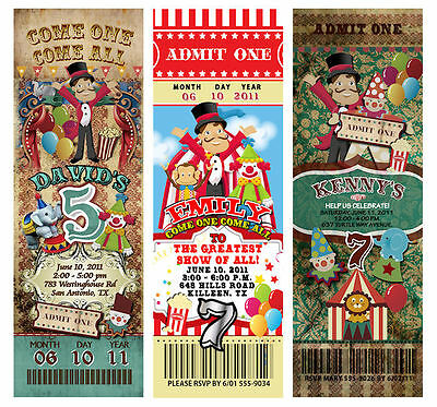 Carnival Party Invitations (30 Circus Carnival Vintage TICKET Invitations Birthday Party Circus-Theme)