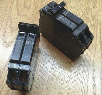 Set Of 2 General Electric Ge Q-line 15a 2-pole Tandem Circuit Breakers Thqp215