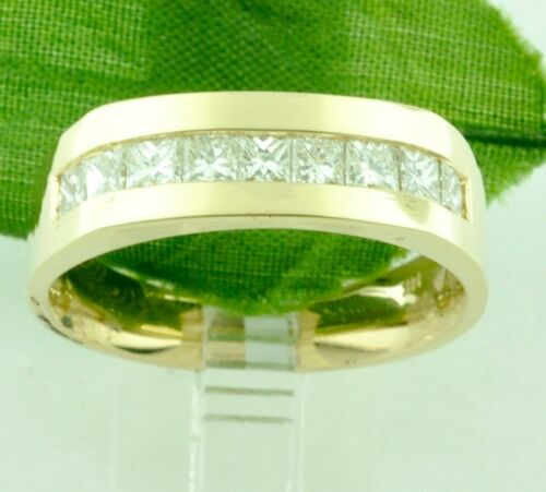 1.32ct 14k Solid Yellow Gold Mens Natural Diamond Ring Princess Cut Channel Band