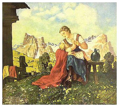 Hugo Hodiener BergFrühling Poster Kunstdruck Bild 48x60cm