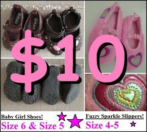 BABY GIRL Shoes (2x) & Slippers (1x) --- Ages 12-24 Mos --- $10!