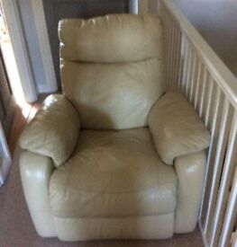 Leather recliner chair.