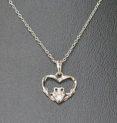 New Avon Sterling Silver CZ Claddagh Necklace 18
