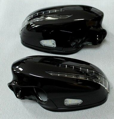 Spiegelkappen LED Blinker Umfeldbel. Schwarz 197 Mercedes W221 Baujahr 2005-2009