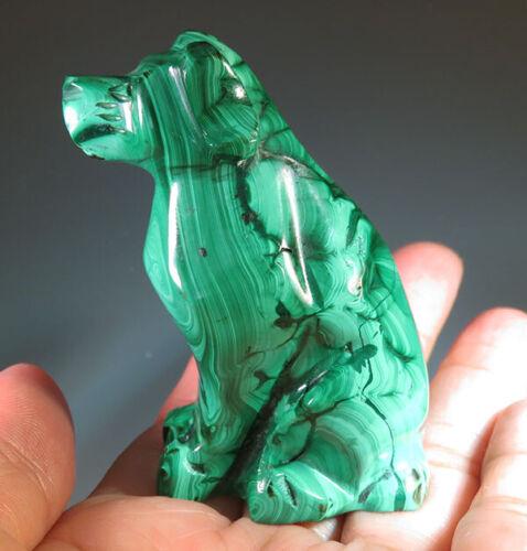 "2.3"" Natural Malachite Dog Crystal Carving Gemstone Gifts *7023"