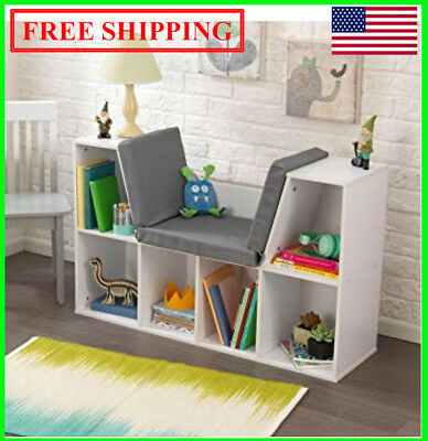 KidKraft Bookcase with Reading Nook Toy, White, shelf, kids, book, new free ship (Kids Nook)