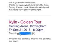 4 x Golden Circle Standing Kylie Minogue Golden Tour Tickets