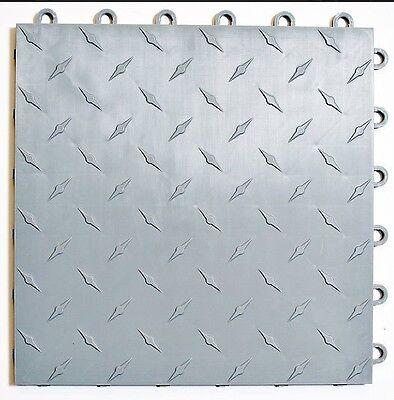 Speedway Garage Tile Mfg. Silver Garage Floor Tiles - Diamond plate