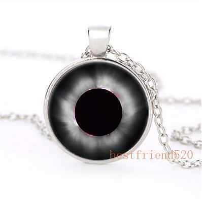 1999years Solar Eclipse Cabochon Glass Silver Plating Necklace Jewelry