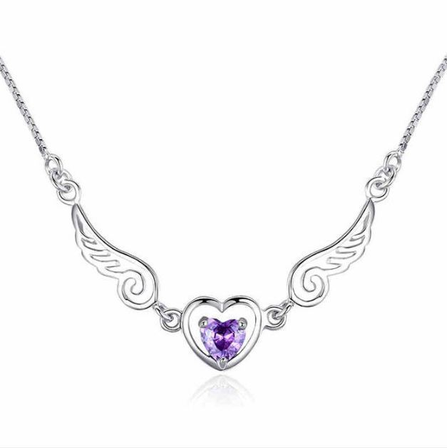 Jewellery - Angel Wing Heart Pendant Chain Necklace 925 Sterling Silver Womens Jewellery New