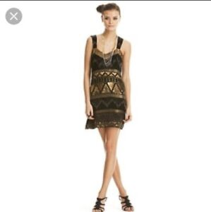 French Connection black/ gold beaded cocktail dress size 4