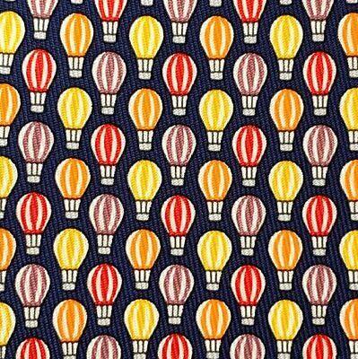 Hermes Navy Orange Yellow Hot Air Balloon MONTGOLFIERE Twill Silk Tie, NWT !