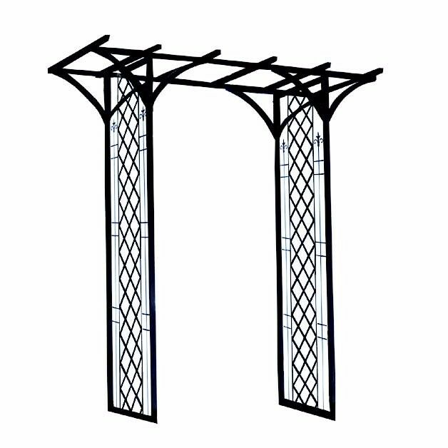 New in box Galvanised metal Garden Arch with lattice effect. 264cms high x 119 wide