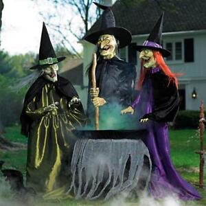 Animated Brewing Witch Trio New Halloween Grandinroad