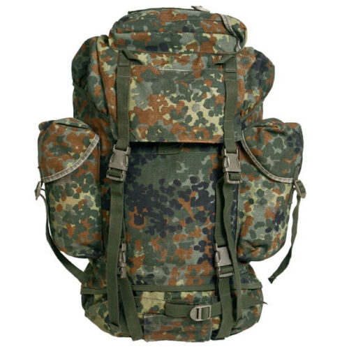 Original German army flecktarn camo combat rucksack backpack 65l tactical