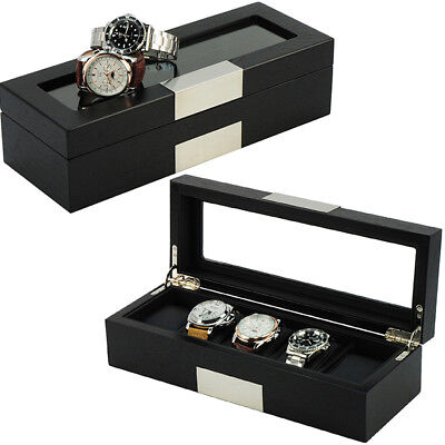 5 Watch Wood Display Case Jewelry Collector Gift Storage Box 23505bl