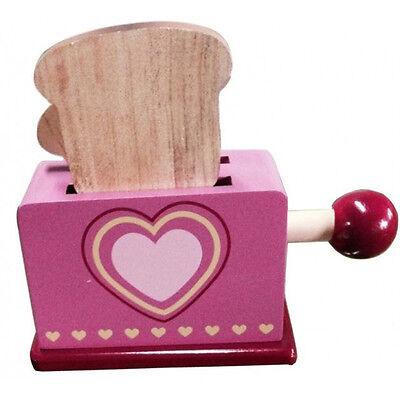 Toaster aus Holz mechanisch für Kinder Spieltoaster Spielküche mit Herzmuster
