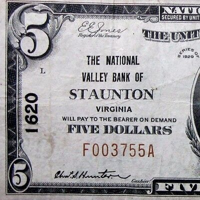 1929  5 National Bank Note   National Valley Bank Staunton   Va 1620  Trusted