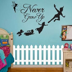 Peter Pan Tinkerbell Wall Decal Kids Sticker Mural Neverland Never Grow Up  Art Part 35
