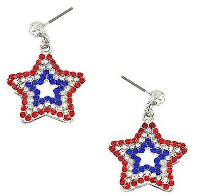 PATRIOTIC 4TH OF JULY RED WHITE & BLUE STAR RHINESTONE DANGLE PIERCED - Patriotic Earrings