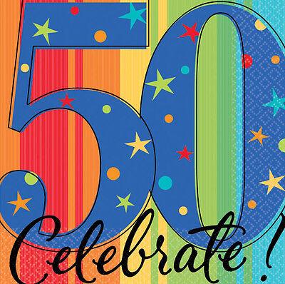 50 th Birthday BEVERAGE NAPKINS CELEBRATE  Party Supplies  6-2C (50 Birthday Napkins)
