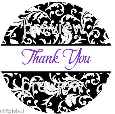 BLACK SWIRL PRINT #111 THANK YOU STICKER LABELS - LASER PRINTED