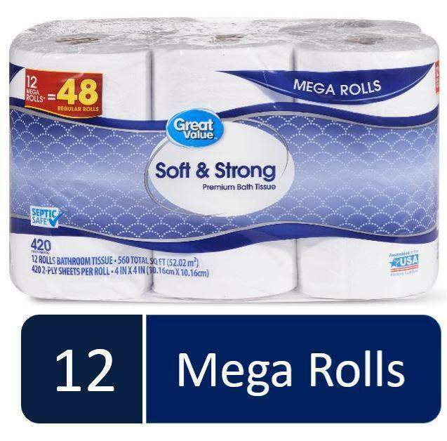 Soft & Strong Premium Bath Tissue, 12 Mega Rolls, NEW