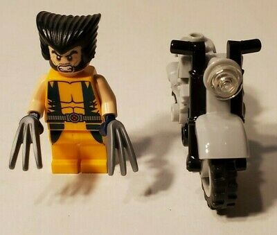 Lego Marvel Wolverine Minifigure SH017 & Motorcycle From 6866 Chopper Showdown