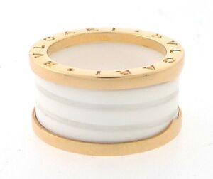 BVLGARI-B-Zero1-18K-Pink-Gold-White-Ceramic-4-Band-Ring-Size-7-55-Ref-AN855564
