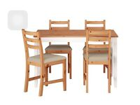 LERHAMN DINING TABLE IKEA with 4 CHAIRS