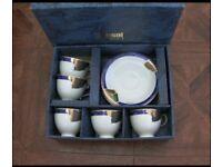 BNIB Kansai Fine China 5 Tea Cup & Saucer Set Blue & Gold