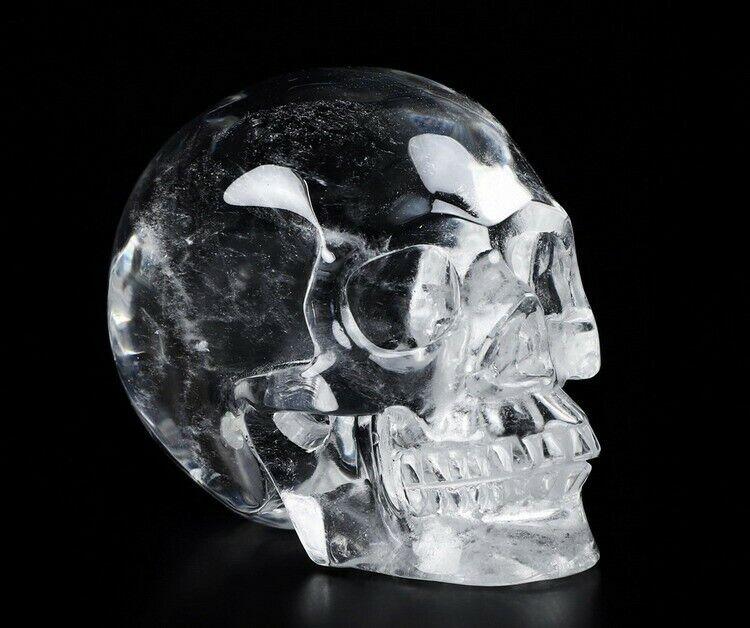 "2.0"" QUARTZ ROCK CRYSTAL Carved Crystal Skull, Realistic, Crystal Healing #068"