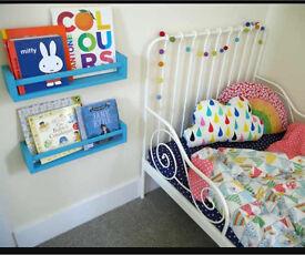 Minnen white toddler Ikea bed