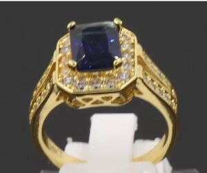 New 14k gold plated sapphire ring size 8