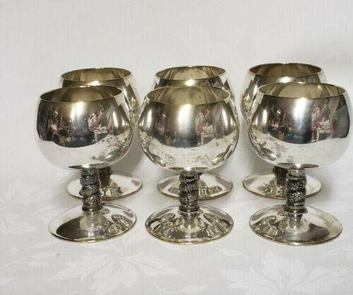 "Vintage 6pc Set Silver Plate Wine Goblets EPB Toledo Spain 4"""