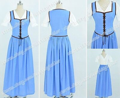Once Upon a Time Cosplay Belle Costume Dress Blue Halloween Party Lady Clothing - Belle Once Upon A Time Halloween Costumes