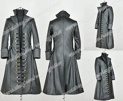 Once Upon A Time 3 Cosplay Costume Captain Hook Cool Black Leather Trench Coat