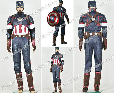Avengers Age Of Ultron Captain America Costume (Captain America Avengers Age Of Ultron Cosplay Steve Rogers Costume Outfit)