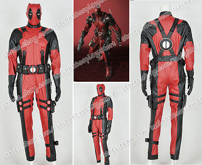 Deadpool Cosplay Wade Costume Cool Male Red Jumpsuit Whole Set Outfit Halloween