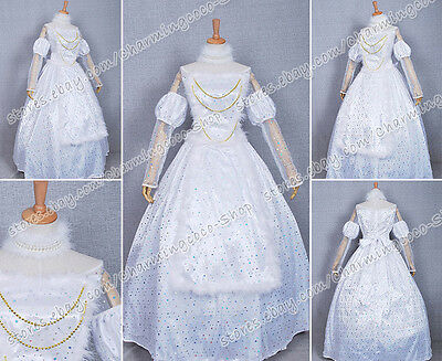 Alice In Wonderland Cosplay White Queen Dress Costume Movie Ver Great For Girl - White Queen Alice In Wonderland Costume