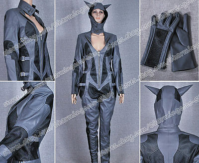Batman Cosplay Arkham City Catwoman Costume Leather Jumpsuit Comfortable To Wear