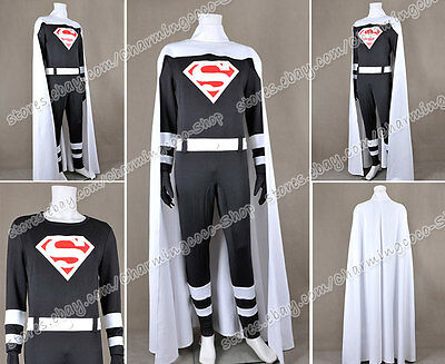 Superman Cosplay Clark Kent Costume Jumpsuit White Cape High Quality - Superman White Costume