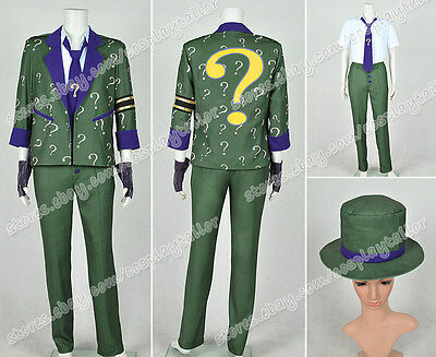 Batman: Arkham City Cosplay The Riddler Dr. Edward Nigma Costume Uniform - Riddler Suit Costume