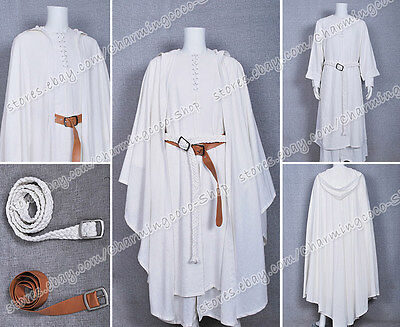 Der Herr der Ringe Gandalf Weiß Robe Cape Party Halloween Cosplay Kostüm